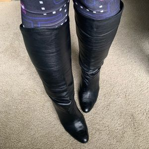 black leather slouchy boots